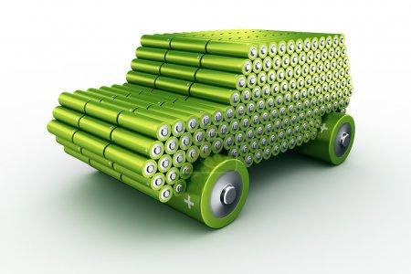 Photo pour 3d rendu d'une voiture faite à l'aide de batteries pour montrer le concept de voitures à piles - image libre de droit