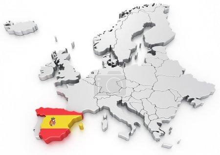 Espagne sur une carte euro