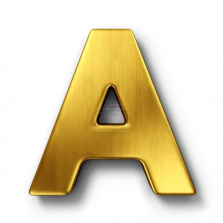 The letter A in gold