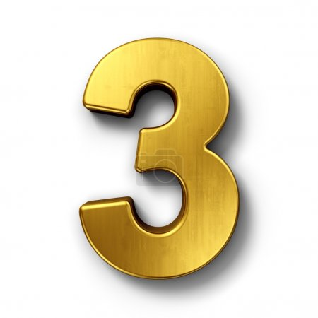 The number 3 in gold
