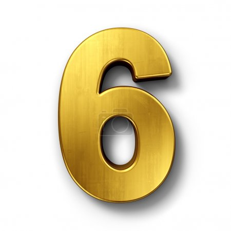 Photo for 3d rendering of the number 6 in gold metal on a white isolated background. - Royalty Free Image