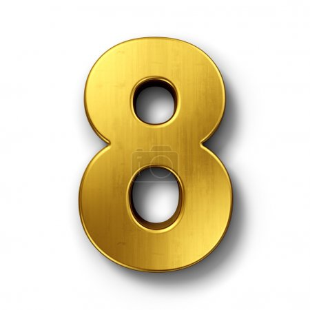 The number 8 in gold