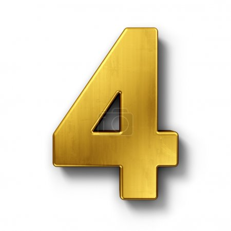 Photo for 3d rendering of the number 4 in gold metal on a white isolated background. - Royalty Free Image