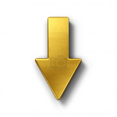 Photo for 3d rendering of an arrow symbol in gold on a white isolated background. - Royalty Free Image