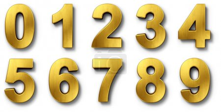 Photo for 3d rendering of the numbers 0-9 in gold metal on a white isolated background. - Royalty Free Image