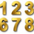 3d rendering of the numbers 0-9 in gold metal on a white isolated background.