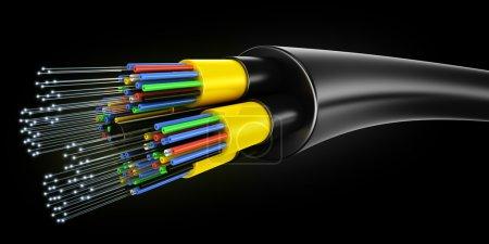 Photo pour Rendu 3D d'un câble de fibre optique sur un fond noir - image libre de droit
