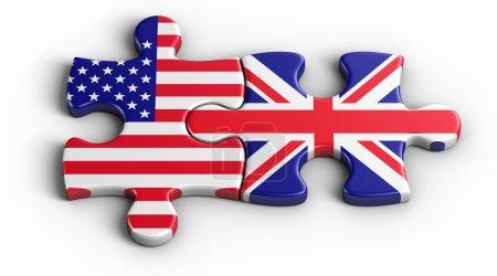 Photo pour Rendu 3D d'une pièce du puzzle américain et un Britannique - image libre de droit