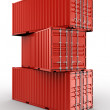 3d rendering of 3 stacked shipping containers...