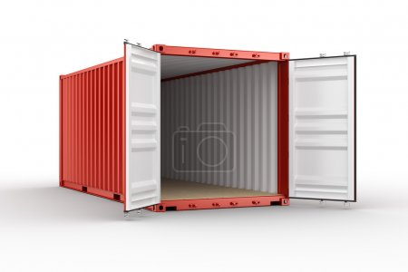 3d rendering of an open shipping container...