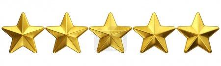 Foto de 3d representación de 5 estrellas de oro - Imagen libre de derechos