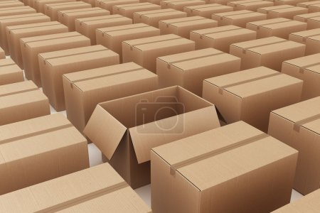 Photo for 3d rendering of a lot of cardboard boxes where a single box is open - Royalty Free Image