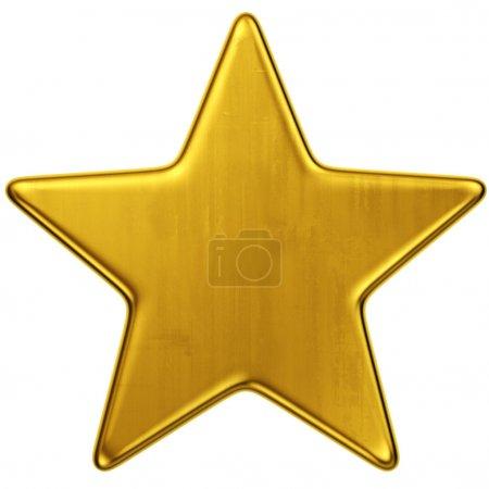 Foto de 3d representación de una sola estrella de oro - Imagen libre de derechos