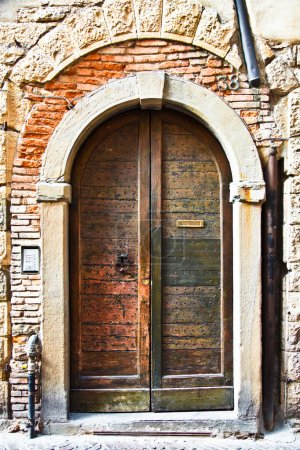 Old Wooden Door with Letter Slot in Italy