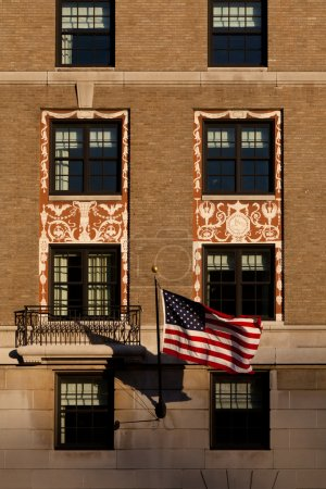 Detail of the Facade of the W Hotel in Washington, DC with Ameri