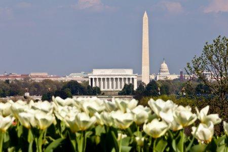 Washington DC Skyline with Lincoln Memorial, Washington Monument