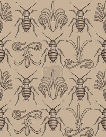 Illustration for Pattern swatch of elegant arabesque swirls scrollwork with creepy crawly cockroaches- totally unique approach to a background! - Royalty Free Image