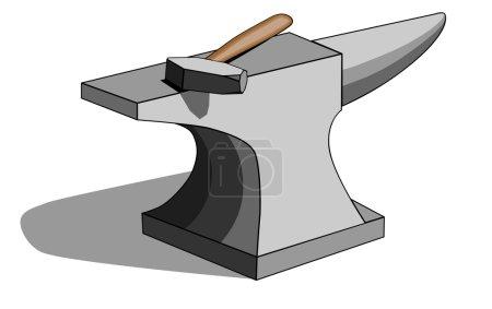 Blacksmith anvil and hammer
