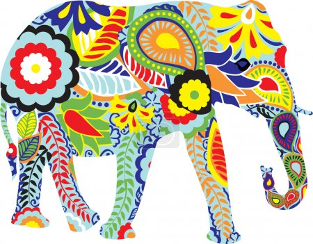 Silhouette of an elephant with Indian designs