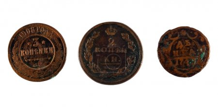 3 Russian old coins