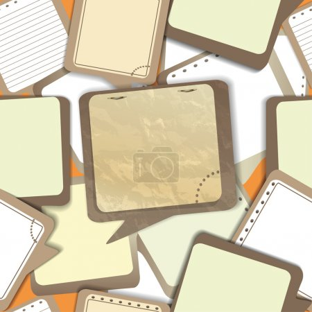 Notepad old paper sheets in speech bubble style