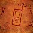 Prehistoric paint background with mobile phone...