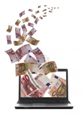Lot af money flying away from laptop