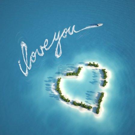 Photo pour Bateau écrit un message d'amour avec le sentier sur l'eau près d'une île en forme de coeur idéal pour les valentines carte postale - image libre de droit