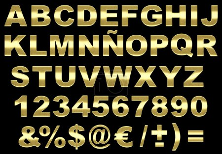 3d brushed gold alphabet isolated