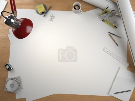 Photo pour Table de dessin design avec beaucoup d'éléments et un espace de copie centré pour votre propre design - image libre de droit