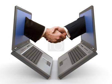 Hand shake between laptops