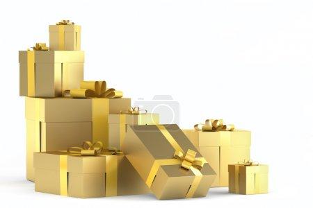 Photo pour Tas de cadeaux d'or avec rubans isolés sur blanc avec espace de copie à droite et à un tracé de détourage - image libre de droit