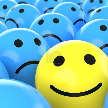 Photo for Close up of a yellow happy smiley between many blue sad others as concept for unique, optimistic, positive, etc. - Royalty Free Image