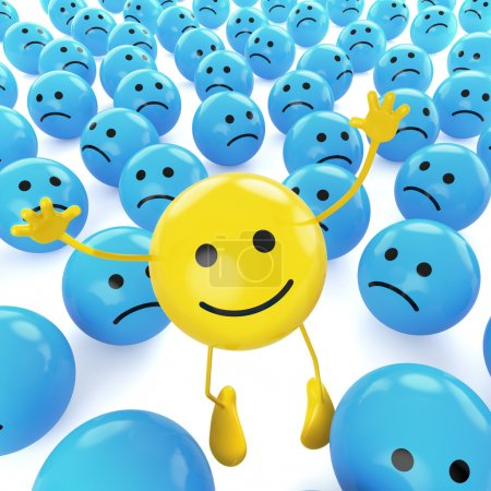 Photo for A yellow smiley happy jumping among many sad blue others as concept for unique, optimistic, hapiness. - Royalty Free Image