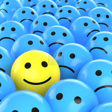 Photo for A yellow happy smiley between many blue sad others as concept for unique, optimistic, positive, etc. - Royalty Free Image