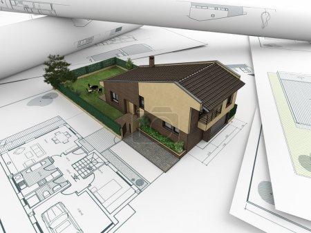 Foto de Modelo 3D de casa salen de planos arquitectónicos - Imagen libre de derechos