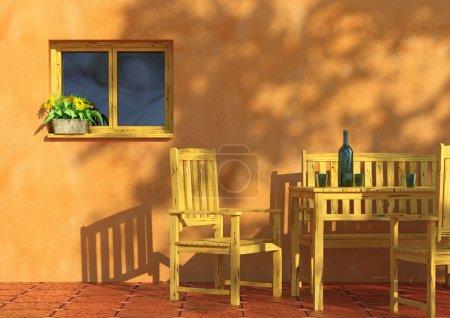 terrasse ensoleillée avec fleurs et meubles