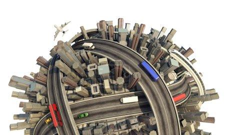 Photo pour Planète urbaine miniature conceptuelle en gros plan montrant une ville encombrée style de vie moderne et les transports, isolé et avec chemin de coupe - image libre de droit