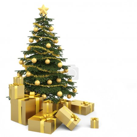 Golden isolated christmas tree