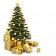 Golden decorated christmas tree wirh many presents...