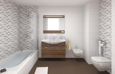 Photo pour Scène intérieure d'une salle de bains moderne dans les couleurs blancs et bruns - image libre de droit