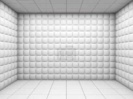 Photo pour Hôpital psychiatrique blanc chambre rembourrée vide avec espace de copie - image libre de droit