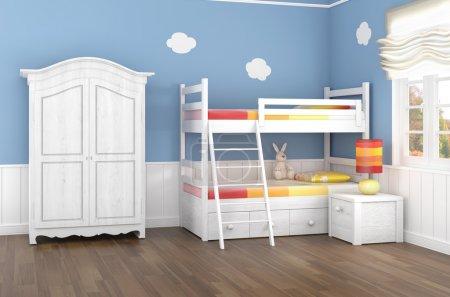 Photo pour Chambre d'enfants dans des murs bleus avec lit superposé et armoire - image libre de droit