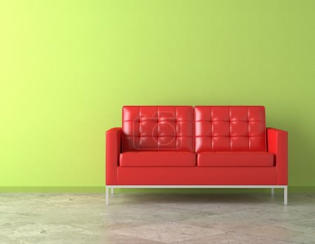 Interior scene of vivid red couch on green vibrant...
