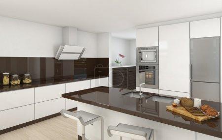Photo pour Design intérieur d'une cuisine moderne aux couleurs blanches et marron - image libre de droit