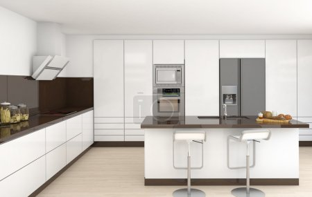 Photo pour Décoration d'une cuisine moderne en blanc et brun couleurs vue frontale - image libre de droit