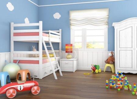 Photo pour Chambre d'enfants dans les murs bleus avec lits superposés et beaucoup de jouets sur le sol - image libre de droit