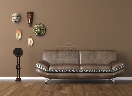 Photo for Interior design scene of brown wall with couch and tribal masks copy space on top - Royalty Free Image