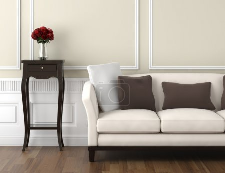 Photo for Interior design of classic room in beige and white colors with couch table and a vase of roses, copy space on top half - Royalty Free Image