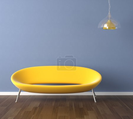 Photo for Interior design scene with a modern yellow couch and lamp on blue wall, copy space on the wall - Royalty Free Image